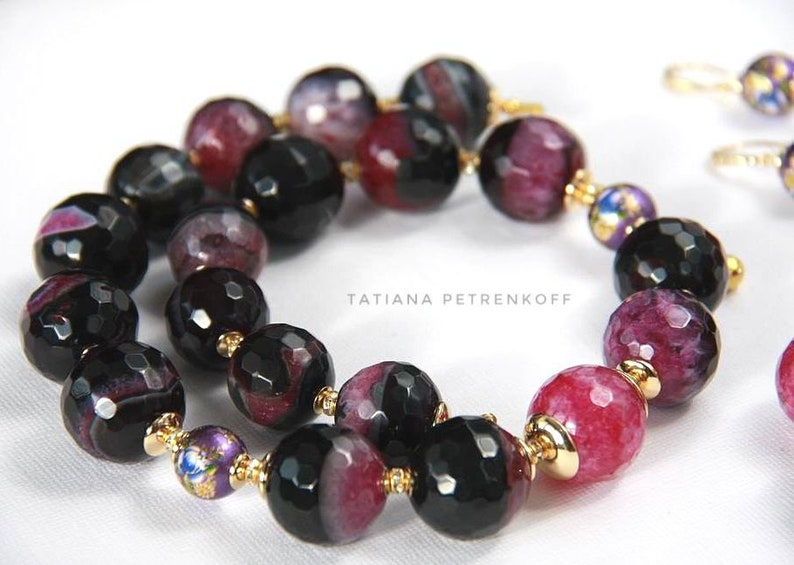 Gold filled necklace with black and lilac agate beads Gift for wife Gemstone necklaces for women Beaded choker Birthday gifts for her