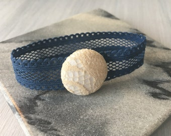 Lace and button bracelet