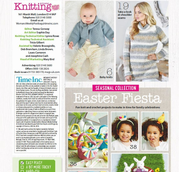 Knitting Crochet Womans Weekly April 2018 Patterns Etsy