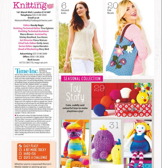 Knitting Crochet Womans Weekly August 2017 Patterns Etsy
