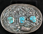 Antique old pawn Navajo Turquoise and Sterling silver belt buckle, big and heavy 3 fine Morenci turquoise stones. Marked TC. Great patina