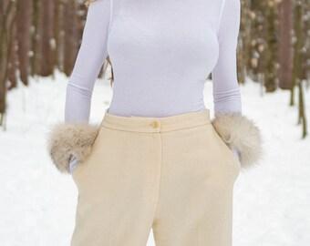 100% Reclaimed Luxurious White Arctic Fox Fur Multi-Use Cuffs
