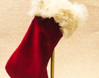 Classic Luxury! Reclaimed White Curly Lamb and Red Suede  Christmas Stocking