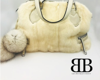 Upcycled Real Blonde Mink & Real Cream Leather, Handmade, Reclaimed Handbag, Purse, Made in Canada, Lizbeckleybag