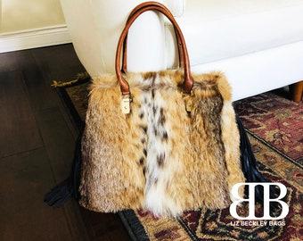 Reclaimed Real Canadian Lynx Fur Large Shoulder Bag Purse Lizbeckleybag