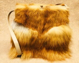 Unique, One-of-a-Kind, Vegan Leather & Real Fox Fur Shoulder / Handbag Bag Purse Lizbeckleybag
