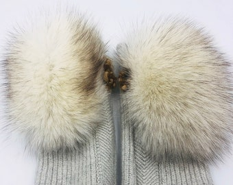 100% Upcycled White Fox Fur Wool Mitts