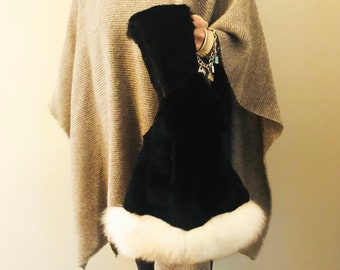 Upcycled Real Fur & Fox fur Knot bag, handmade, recycled fur, reclaimed handbag, Purse, wristlet made in Canada