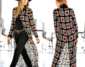 Crochet Coat, Granny Square Afghan Patchwork Cardigan, Crocheted handmade clothing, organic clothing, crochet fashion, women cardigan