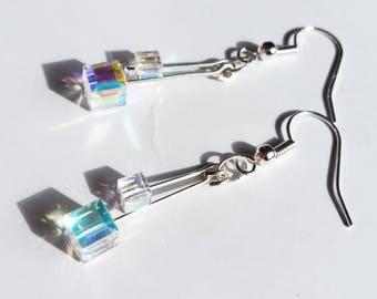 Swarovski AB Crystal Cube Dangle Earrings
