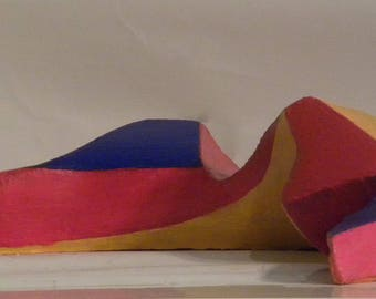 Colorful reclining woman