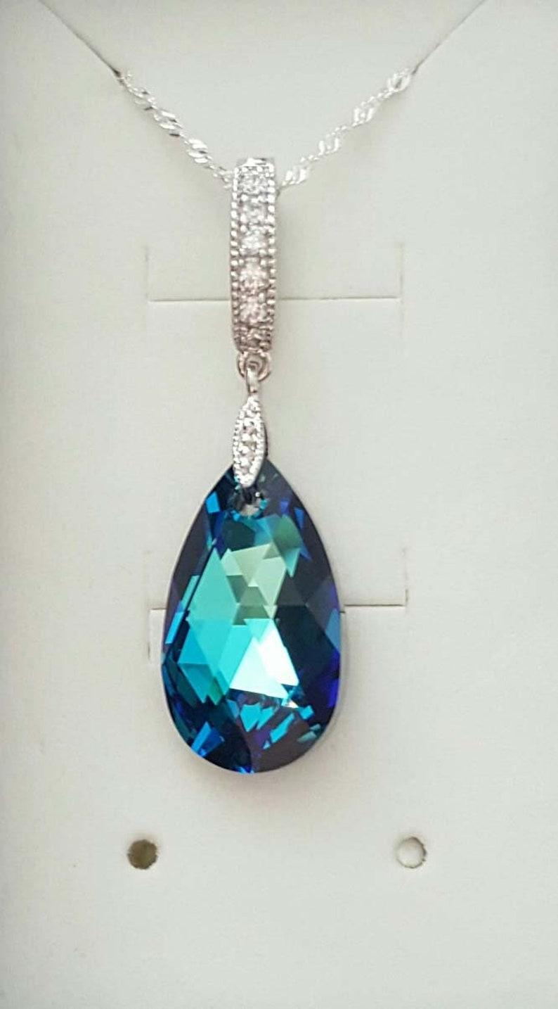 16a328b66 Swarovski Elements Crystal 22mm bermuda Blue pear shaped | Etsy
