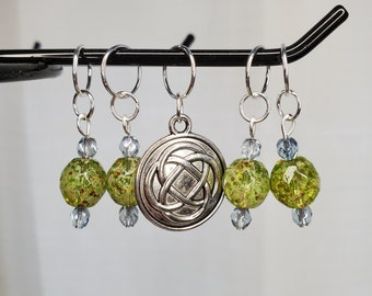 Light green with silver/blue bead stitch marker set with Celtic knot charm