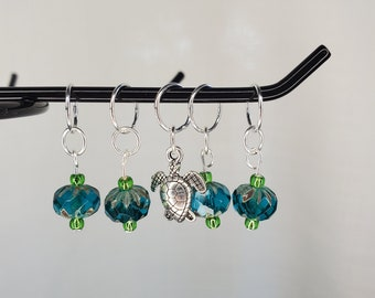 Turquoise with green glass bead stitch marker with turtle charm