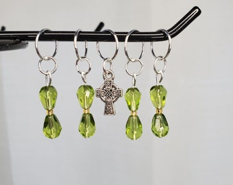 Light green with gold bead stitch marker set with Celtic cross charm