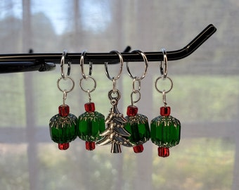 Green with red glass bead stitch markers with silver Christmas tree charm, Christmas Trinket