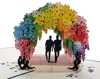 Gay Rainbow Wisteria Flower Tunnel 3D Pop Up Greeting Card- Valentine, Romantic, Engagement, Anniversary, Wedding, Pride, Groom, Unique LGBT