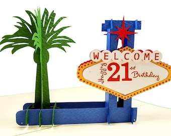 Happy 21st Birthday Las Vegas Style 3D Pop Up Greeting Card