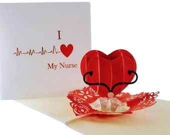 Unique I Heart My Nurse 3D Pop Up Greeting Card Thank You Happy Birthday Appreciation Best Medical Retirement Hospital Wonderful