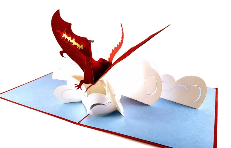 Flying Strong Thank You Fire Breathing Dragon Pop Up Greeting Cards Creature Fantasy- Birthday Mystical Congratulations Graduation