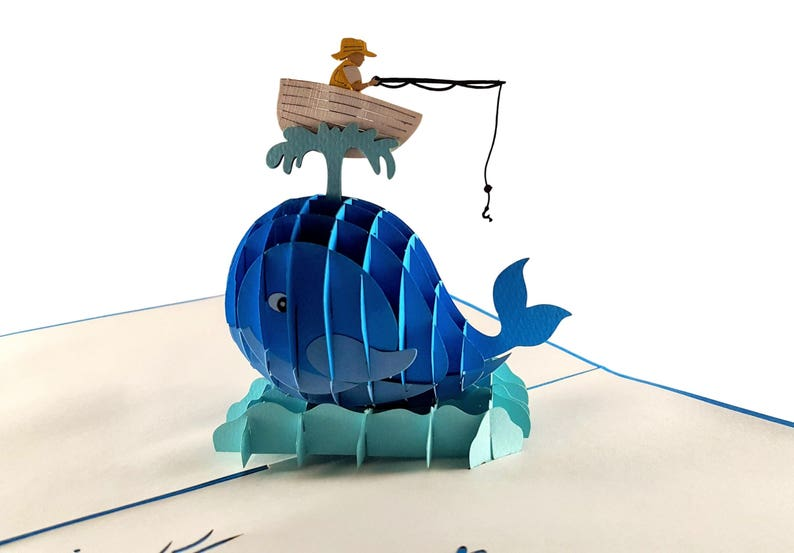 Friendship Birthday Odd Couple Fishing A Man And The Whale Pop Up Greeting Card Get Whale Father\u2019s Day Retirement Folds Flat