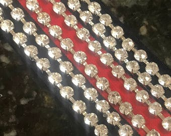 Gucci Inspired Headband w/Crystals (Navy Blue & Red stripe)