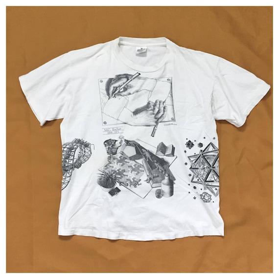 90's MC Escher all over prints tee Andazia tag XL