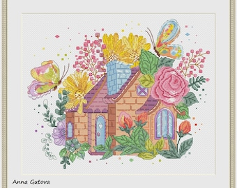 The Flowers House Counted Cross Stitch Pattern. PDF file instant download.