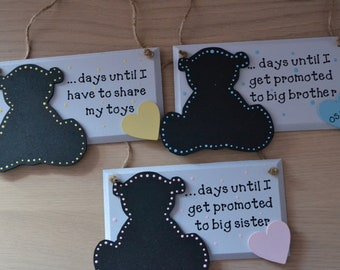 Personalised new baby countdown teddy chalkboard plaque days until im promoted to big brother big sister gift