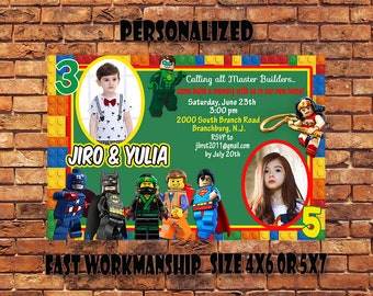 Lego Invitation,Lego Birthday Invitation,Lego Party,Lego Double/Twin/Sibling Invitation,Lego Printable,Digital Download.