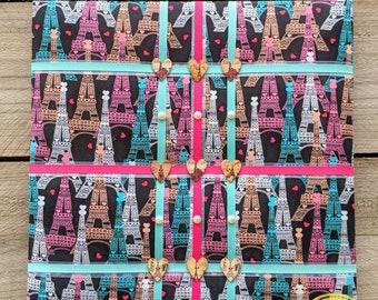 French memo board, Fabric board, Memo board, Photo board, Bulletin board, Hair accessory organizer, Wall art, Home decor, Eiffel Tower,Paris