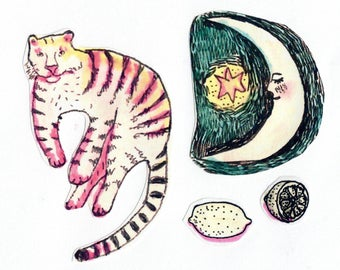 "Cute, Aesthetic, Handmade Illustrated Sticker Sheet! ""Tiger In the Sky with Lemons"""