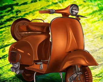 Vespa print on aluminium sheet table, wall decor, frame, illustration, drawing, design, modern, trendy, artwork