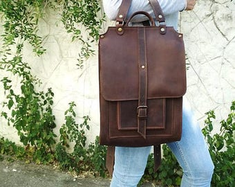 Large leather brown backpack