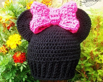 Minnie Mouse Hat Crochet Pattern | Crochet Hat Pattern | Crochet Minnie Mouse Hat | Minnie Mouse Hat for Kids | PDF Download