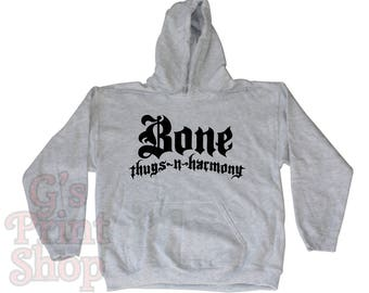 Bone Thugs n Harmony Hooded Sweatshirt Hoodie - Bizzy - Wish - Layzie - Krayzie - Flesh n Bone - Hip Hop - Rap - Urban - Black