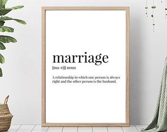 Funny marriage quote | Etsy