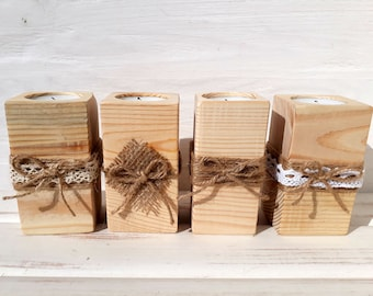Items similar to Wooden Candle Holder : Square - Holds 10 votives - Customized Color and Length is optional