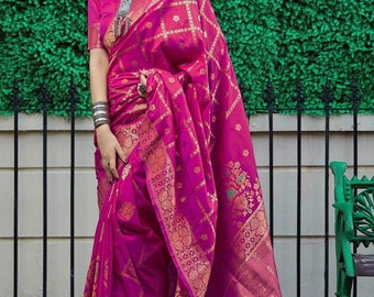 Purple Colore Designer Bold And Beautiful Saree Indian Traditional Saree Bollywood Style Exclusive Party Wear Kanchipuram Silk Saree