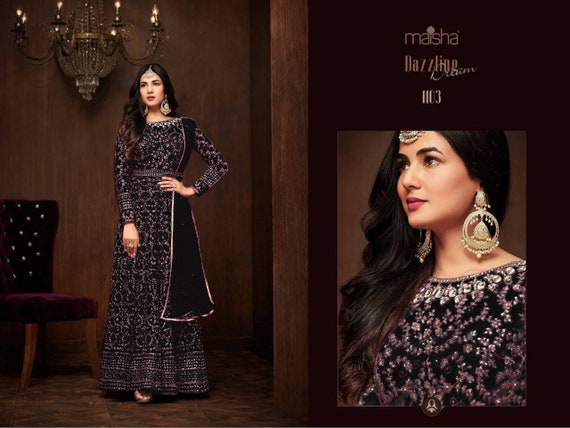 Black colore designer Pakistani style Gown Maxi dress wedding dress indian style Salwar kameez embroidery work gown