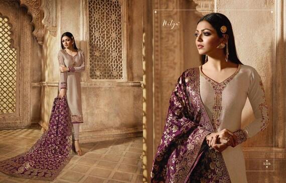 Cream Colore Designer Dress Bollywood Style Salwar Kameez Banarasi Jequard Duppata Pakistani Style Salwar Kameez by Etsy