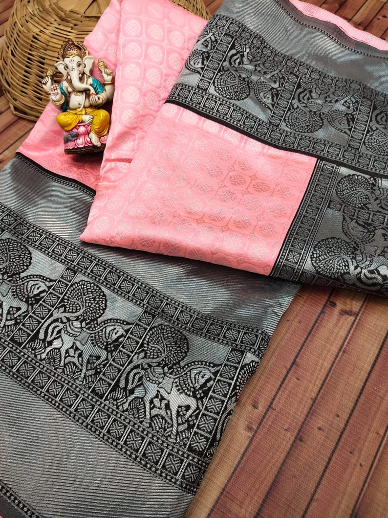 Baby Pink Colore Designer Bold And Beautiful Saree Indian Traditional Saree Bollywood Style Exclusive Party Wear Kanchipuram Silk Saree