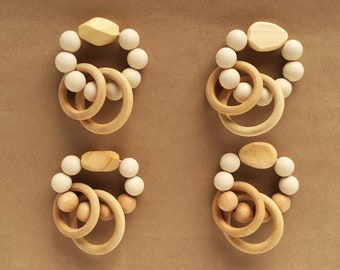 Cream Silicone and Wood Teething Rings