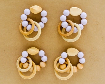 Lavender Silicone and Wood Teething Rings