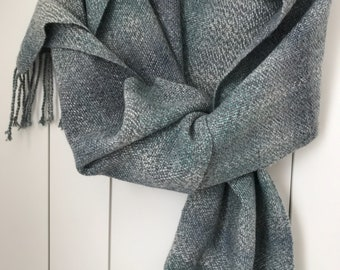 Handwoven blue-green tone scarf