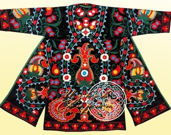 4f0e248eb61 Unisex Turkish Style Handmade Silk Embroidered Uzbek Tajik Velvet Chapan  Coat Kaftan Robe From Uzbekistan Author's Work Ready To Wear 167