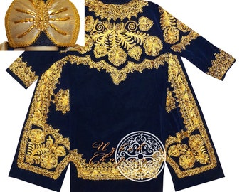 62fa66eb316 Bukhara Eye-Catching Gold Embroidered Uzbek Velvet Unisex Chapan Coat  Kaftan Robe Costume With Turban Hat Ready To Wear 152