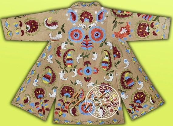 Unisex Ottoman Flowers Natural Colored Silk Embroidered Uzbek Tajik Chapan Light Coat Kaftan From Uzbekistan Author/'s Work 092