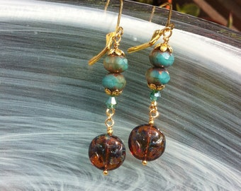 Rustic and bohemian amber earrings with turquoise and blue beads
