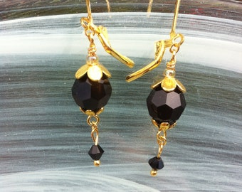 Small earrings in a simple Victorian style with a black jet Swarovski crystal